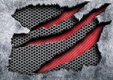 Torn metal grille a red, iron texture with holes and damaged edg. Ragged metal with a red mesh background damaged steel, 3d, illustration Royalty Free Stock Photography