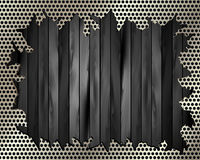 Torn metal grille on a wooden background 2 Royalty Free Stock Photos