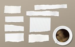 Torn note, notebook paper pieces for text stuck on brown background with cup of coffee. Vector illustration. Royalty Free Stock Images