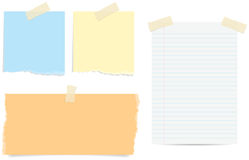 Torn Note Papers. Various styles of torn and lined paper notes with tape Vector Illustration