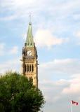 Torn och flagga 2008 för Ottawa parlamentfred Fotografering för Bildbyråer