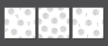 Torn off finger seamless doodle vector tattoo pattern. Hand Drawn Black and White Simple Doodle fingers Pattern in Kids Style. Seamless Background with Drawing Royalty Free Stock Photo
