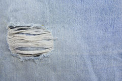 Torn old blue jeans Stock Photos