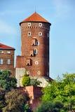 Torn på den Zamek Wawel slotten royaltyfri fotografi