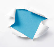 Torn paper. Empty blue background torn paper stock images