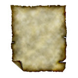 Torn paper. Old  rough paper with torn and burnt edges for background.  Isolated over white Stock Photo
