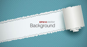 Torn paper. Background with a rolled piece. EPS10 Stock Photo