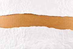 Torn paper background series. Torn paper-strip series - crumpled white paper revealing brown cardboard royalty free stock images