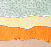 Torn paper background with space for text. different colors and patterns Royalty Free Stock Images