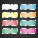 Torn paper banners with space for text. Vector EPS10 illustration isolated on a black background. Torn  paper banners with space for text. Vector EPS10 Stock Photos