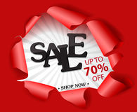 Torn paper with big sale and best offer design Stock Images