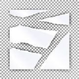 Torn Paper Blank Vector. Realistic Scraps Of Papers With Shadow. Material Design Illustration Stock Images