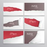 Torn Paper Cards Realistic Set royalty free illustration