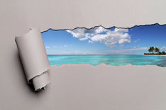 Torn Paper With Caribbean background Stock Photos