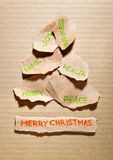 Torn paper Christmas tree Stock Images