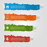 Torn paper. Colored infographic banners, numbered options and icons, modern design Stock Photos