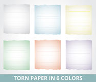 Torn paper in different colors Stock Image