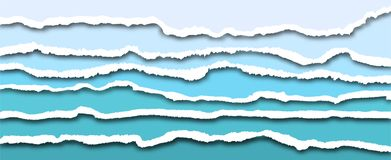 Free Torn Paper Edges, Vector Realistic Horizontally Ripped Paper Stock Image - 151395161