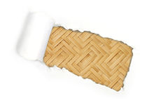 Torn paper and fabricated bamboo bark Royalty Free Stock Photography