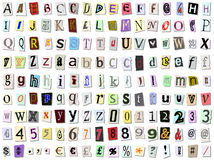 Torn paper font. Grungy torn paper font. Upper and lower case, numbers and symbols stock illustration