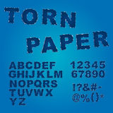 Torn paper font Stock Images