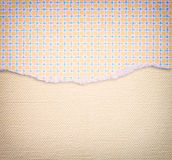 Torn paper with funky pattern over textured canvas background Stock Photo