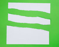 Torn paper on green background Stock Image