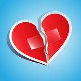 Torn paper heart, fixed with take stock illustration