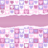Torn paper hearts pattern Stock Photography