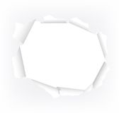 Torn paper hole. Vector illustration of a white torn paper hole Stock Image