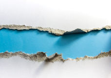 Torn Paper. Isolated on whit whit blue space for text stock photo