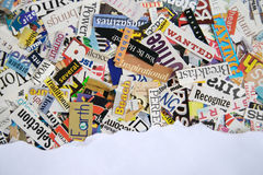 Torn Paper Magazine Background. Torn paper over magazine clipping background, with copy space Stock Photos