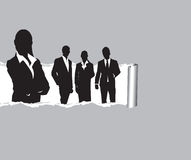 Torn paper with people background. Vector of torn paper with business people coming through Stock Photos