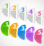 Torn paper progress option labels. With description. Numbered banners vector illustration