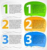 Torn paper progress option labels. With description or numbered banners stock illustration