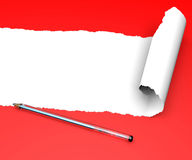 Torn paper red texture and a pen Royalty Free Stock Images