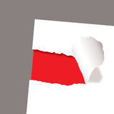 Torn paper reveal red. Torn paper icon with red background and copy space Royalty Free Stock Photography