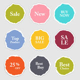 Torn paper round sticker, label, banner set. Stock Photography