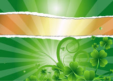 Torn Paper Shamrock Banner. Abstract Decorative Artistic Design of Torn Paper Shamrock Banner Stock Photos