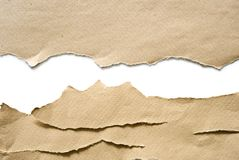Torn paper sheets. Pieces of torn paper on white background royalty free stock photography