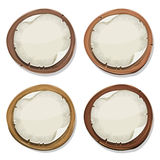 Torn Paper Signs On Wood Circles Royalty Free Stock Images
