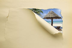 Torn paper with summer beach Royalty Free Stock Photos