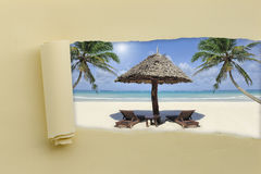 Torn paper with summer beach Stock Photography