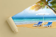 Torn paper with summer beach Royalty Free Stock Image