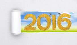 Torn Paper with text 2016 on nature background. S stock illustration
