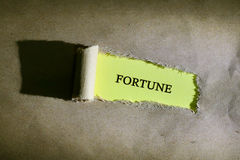 Torn paper with word FORTUNE. On yellow background Stock Photography