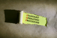 Torn paper with word STANDARD OPERATING PROCEDURE. On yellow background Royalty Free Stock Image