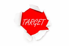 Torn paper with written word Target Stock Photography