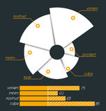 Torn pie chart with a linear diagram below. Royalty Free Stock Image