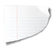 Torn piece of notebook paper Stock Image